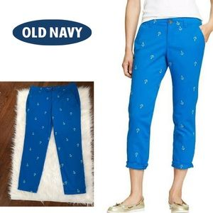 Old Navy Blue Cotton Pants, Anchor Embroidery